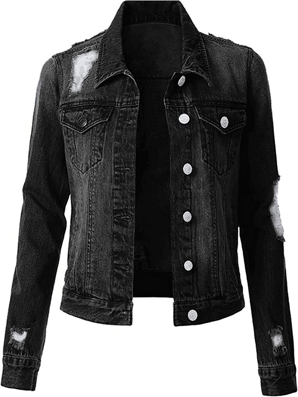 Women's Classic Denim Jacket Long Sleeve Outerwear