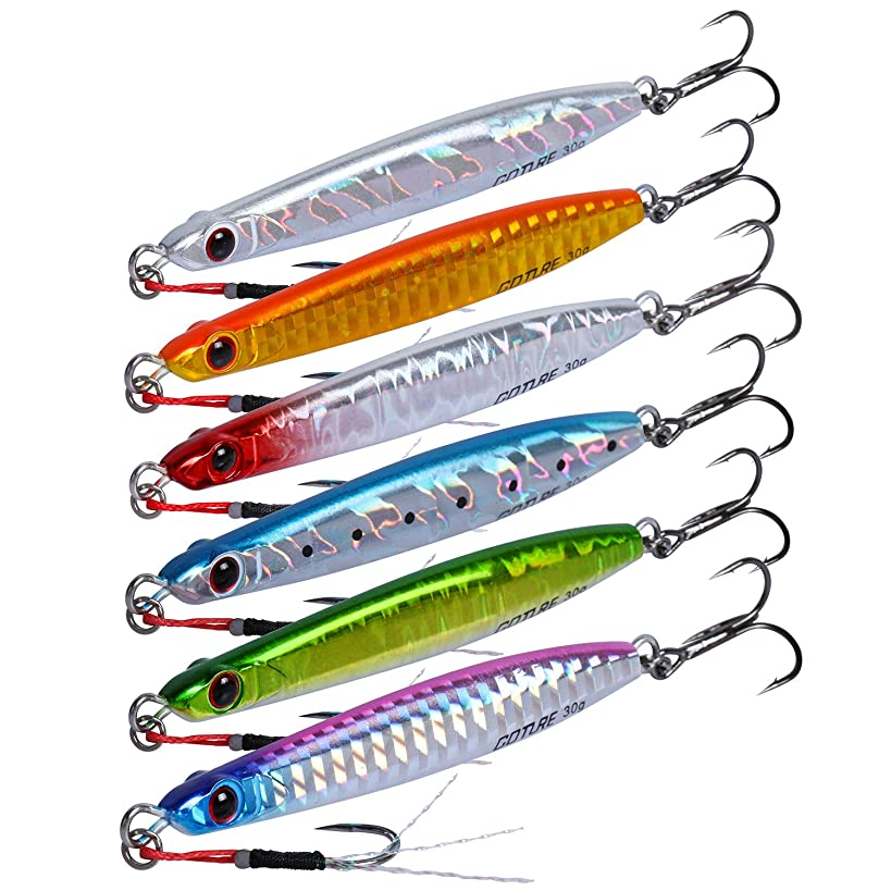Goture Lead Vertical Jigs Saltwater Jigging Fishing Lure with Treble Hook, Artificial Bait Sinking Lures 2.76in/0.71oz 3.15in/1.06oz