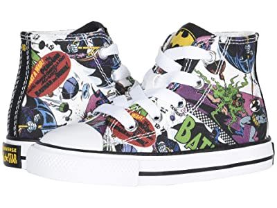 Converse Kids Chuck Taylor(r) All Star(r) Hi Batman (Infant/Toddler) (White/Black/Multi) Kids Shoes