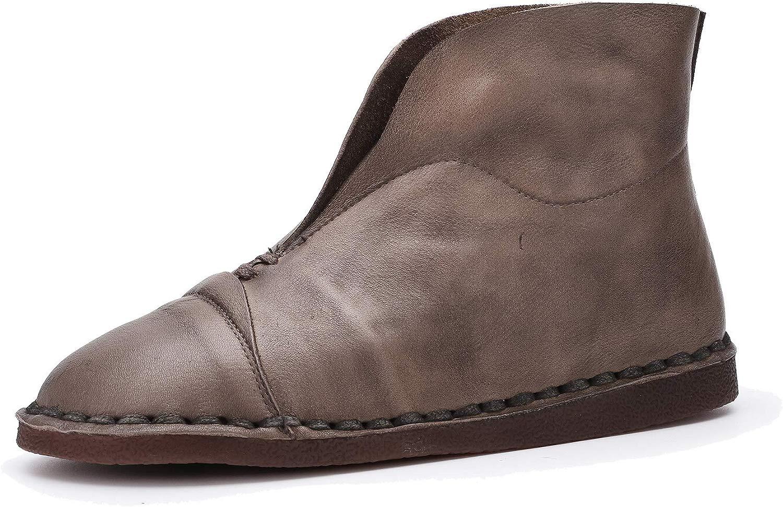 Retro Flache Stiefeletten aus echtem Leder für Damen Weiche Sohlen und runde zehen Schuhe im Herbst und Winter
