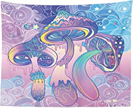 Lunarable Mushroom Tapestry, Trippy Drawing Hippie Design Sixties Visionary Psychedelic Shamanic, Fabric Wall Hanging Decor for Bedroom Living Room Dorm, 28