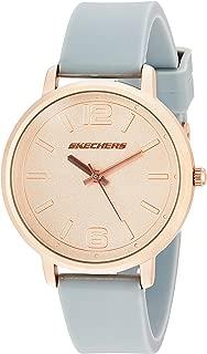 Skechers SR6075 Reloj para Mujer, Correa Silicon Gris, Caratula Oro Rosado, Análogo