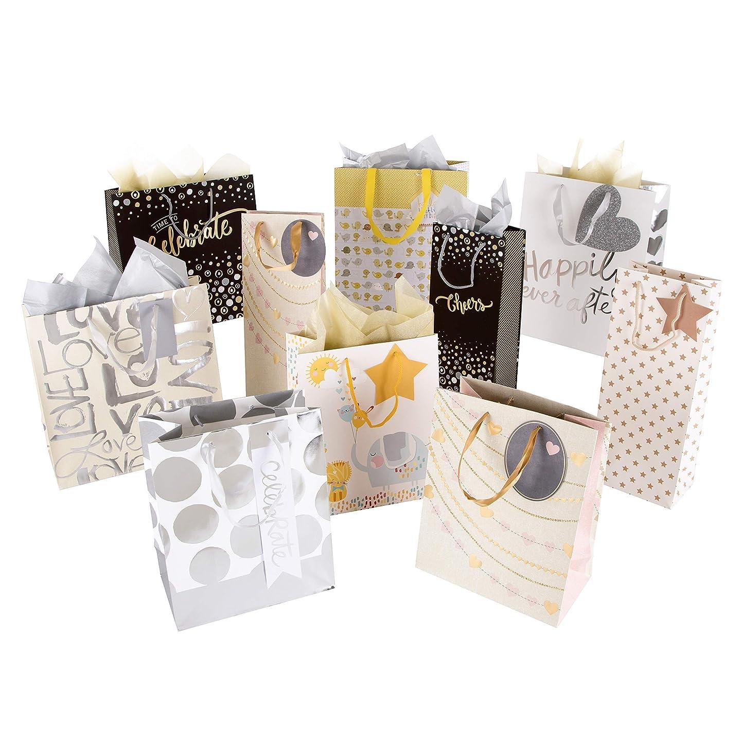Hallmark Gift Bag and Tissue Pack - 4 Medium Bags, 3 Small Bags, 3 Bottle Bags & 2 Tissue Packs wlawjyykqok9