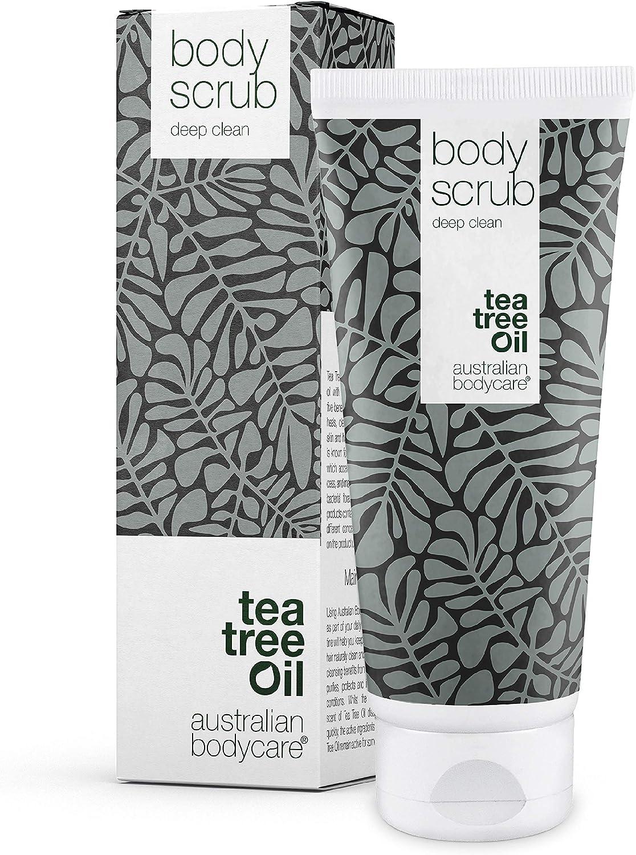 Body Scrub de Australian Bodycare, para hombres y mujeres, 200 ml   Exfoliante con aceite de árbol del té 100% nsatural   Para espinillas en la espalda o en el cuerpo, impurezas y pelos encarnados.