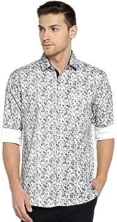 Solemio Men White & Grey Printed Casual Shirt (SH1039EGR)