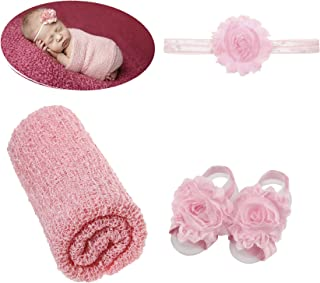 inSowni 3pcs/Set Photo Photography Props Blanket Wrap Swaddle With Flower Headband & Barefoot Sandals For Baby Girl Boy Ne...