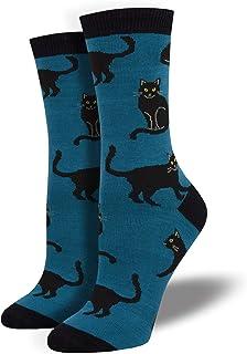 Calcetines para mujer, diseño de gato, color azul