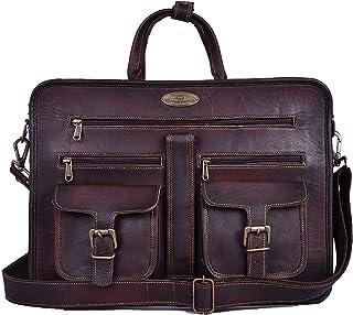 """Genuine Leather Laptop Messenger Bag Office Briefcase College Bag for Men Women 15"""" Laptop Bag Computer Bag Crossbody Shoulder Satchel Bag School Travelling Distressed Bag"""