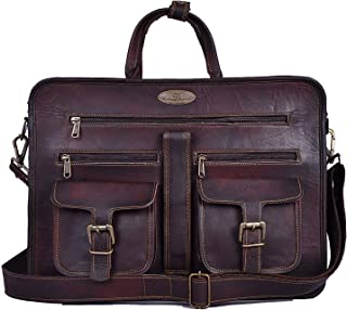 "Genuine Leather Laptop Messenger Bag Office Briefcase College Bag for Men Women 15"" Laptop Bag Computer Bag Crossbody Shoulder Satchel Bag School Travelling Distressed Bag"
