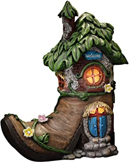 TERESA'S COLLECTIONS 8.5 Inch Fairy House Garden Statues with Boots, Solar Powered Lights Garden Figurine for Outdoor Pati...