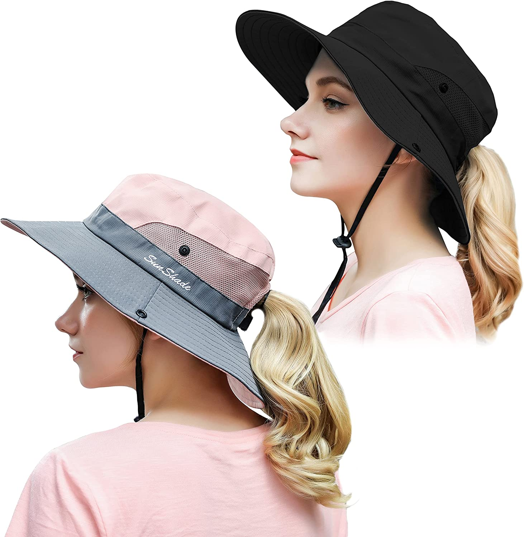 Muryobao 2 Pack Women Ponytail Summer Sun Hat UV Protection Wide Brim Foldable Safari Fishing Cap