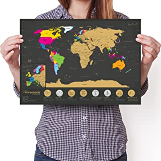 """Travel Size Scratchable World Map - 7 Wonders Edition - Personalised Travel Tracker Poster - Remember and Share Your Adventures (Black 