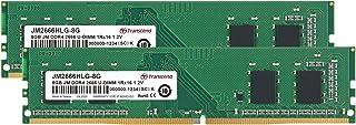 Transcend デスクトップPC用メモリ PC4-21300(DDR4-2666) 8GBx2枚 1.2V 288pin U-DIMM 1Rx16 (1Gx16) CL19 無期限保証 JM2666HLG-16GK