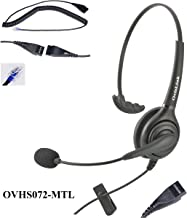 OvisLink Corded Mitel Headset   Noise Cancelling Microphone Headset for Mitel Phones   Professional Call Cetner Headset for Office Phones   RJ9 Headset Quick Disconnect Included   2 Years Warranty