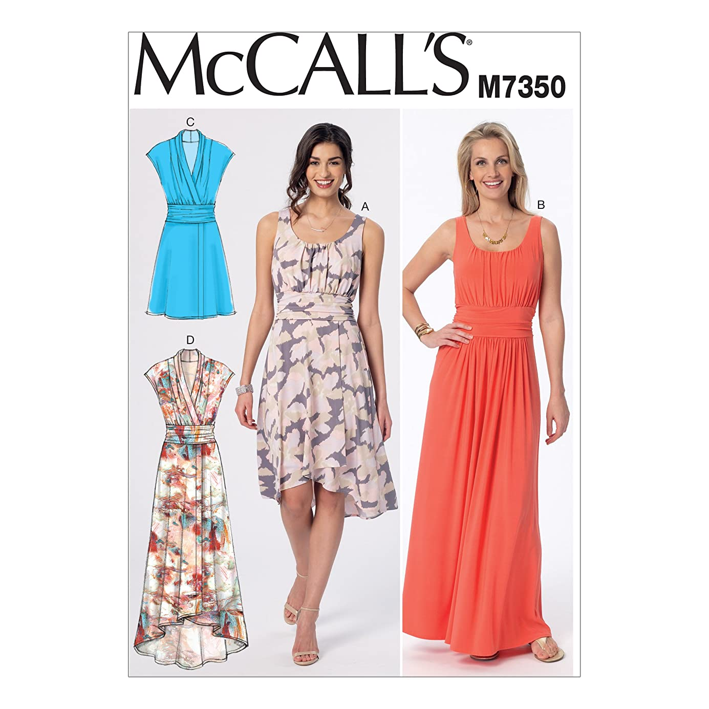 McCall's Patterns M7350 Misses' Gathered Scoop Neck or Surplice Dresses, Size E5 (14-16-18-20-22) tiedpt8316
