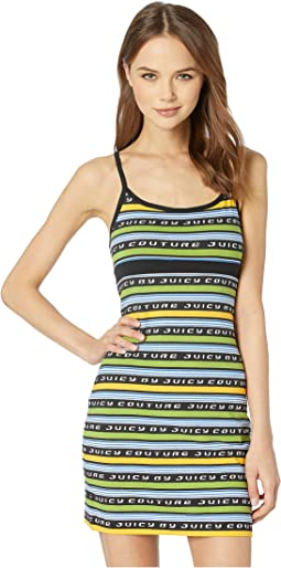 Juicy Racer Stripe Logo Slip Dress