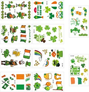 Tinabless Shamrock Patterned Tattoos for St. Patrick's Day, Temporary St. Patrick's Day Tattoos, Apparel Accessories for Adults & Kids (10 Sheets)