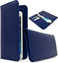Universal Bastex Wallet Case Bi-Fold Blue PU Leather Purse Clutch Style 3 Card Slot 2 Pockets for Money Credit Debit Cards for Samsung Android Phones iPhone 6 iPhone 6s Plus & iPhone 7 iPhone 7 Plus