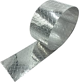 """Eagle 1-0.025 (Thin) x 10 FT Long Embossed Aluminum Diamond Checker Plate Sheet/Rolls - Each Roll Includes 10 1/8"""" Aluminum Rivets, 1/8"""" Drill bit, and a Pair of Nitrile Gloves (4"""" x 10 FT)"""