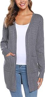 iClosam Cardigan Mujer Invierno Casual Elegante Color SóLido Open-Front Chaqueta Sweater SuéTer De Punto para Women