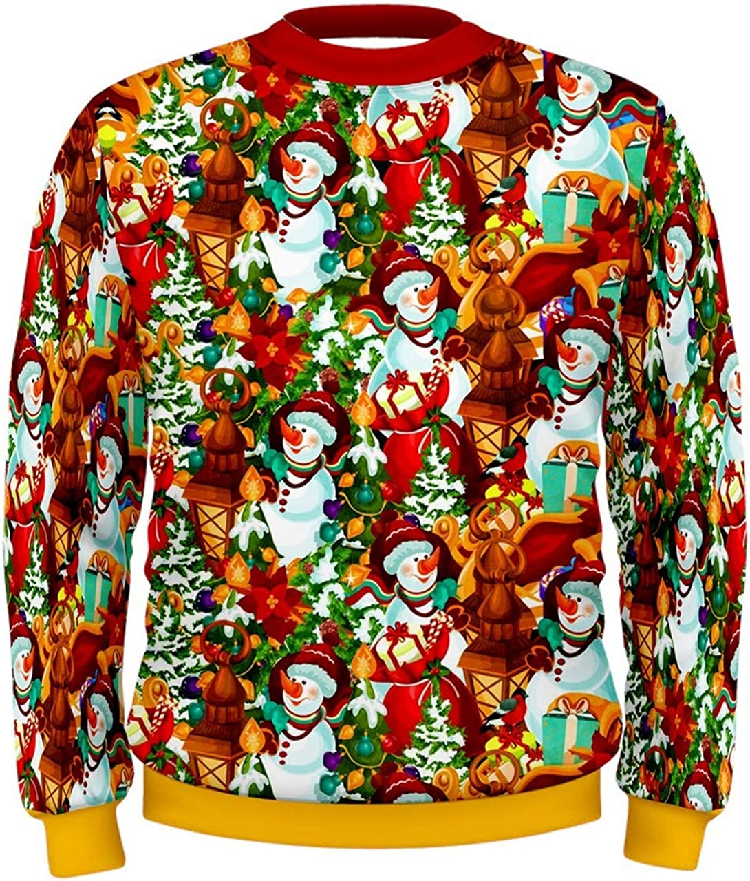 CowCow Mens Christmas Sweater Ugly Funny Xmas Reindeer Unisex Pullover Sweatshirt, XS-3XL