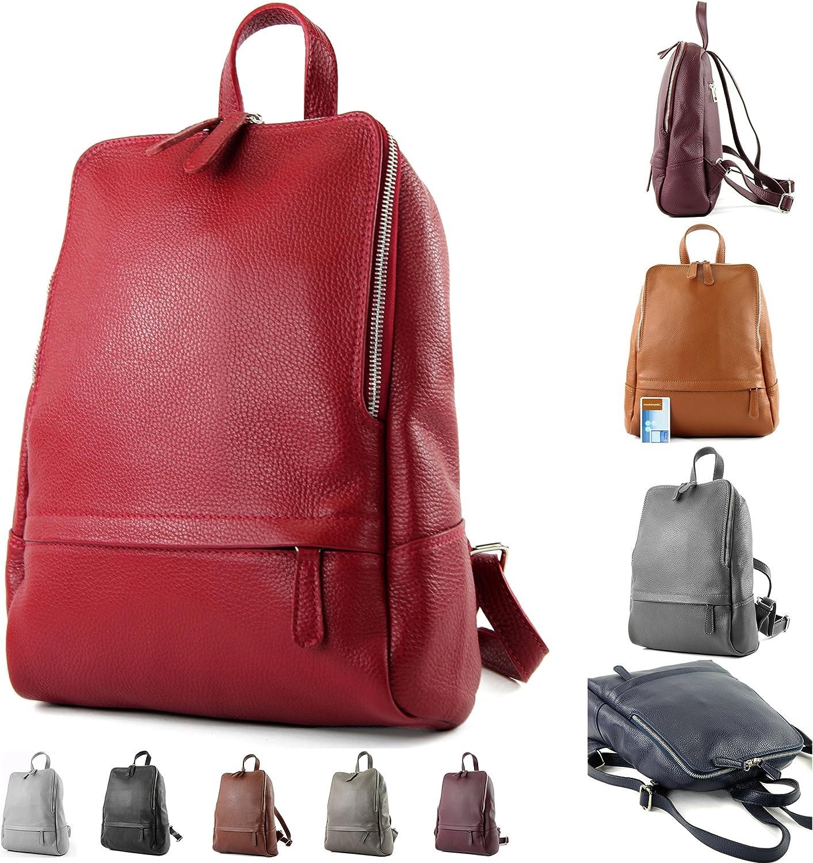 modamoda de - Ital Damenrucksack sac en cuir T138 Jean Bleu