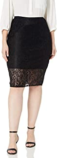 Star Vixen Women's Plus Size Lace Pencil Skirt with Short Lining
