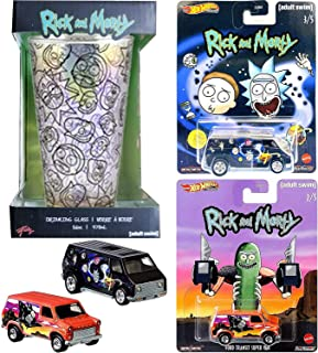 Hot Wheels Funky Time Rick & Morty Super Transit Pickle Van Ford Bundled with Rick & Morty Character Car + Galactic Pint G...
