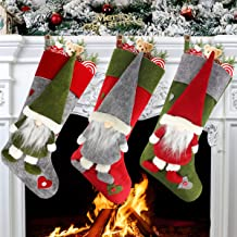 """Aiduy Set of 3 Christmas Stockings 18"""" with Cute 3D Plush Swedish Gnome Xmas Stockings for Fireplace Hanging Christmas Dec..."""