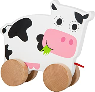 Small Foot 10612 Toy Made of Wood Cow on Four Natural Wheels and Long String for Pulling Along