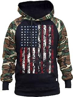 Men's Huge American Flag Black/Camo Raglan Baseball Hoodie Black