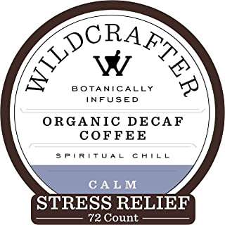 Wildcrafter Botanicals Organic Decaf Coffee K Cups - Stress & Anxiety Relief with Holy Basil Leaf, Chamomile & Passionflower Blend. 72 Calming Dark Roast Pods - Works with K-Cup Brewers & Keurig 2.0