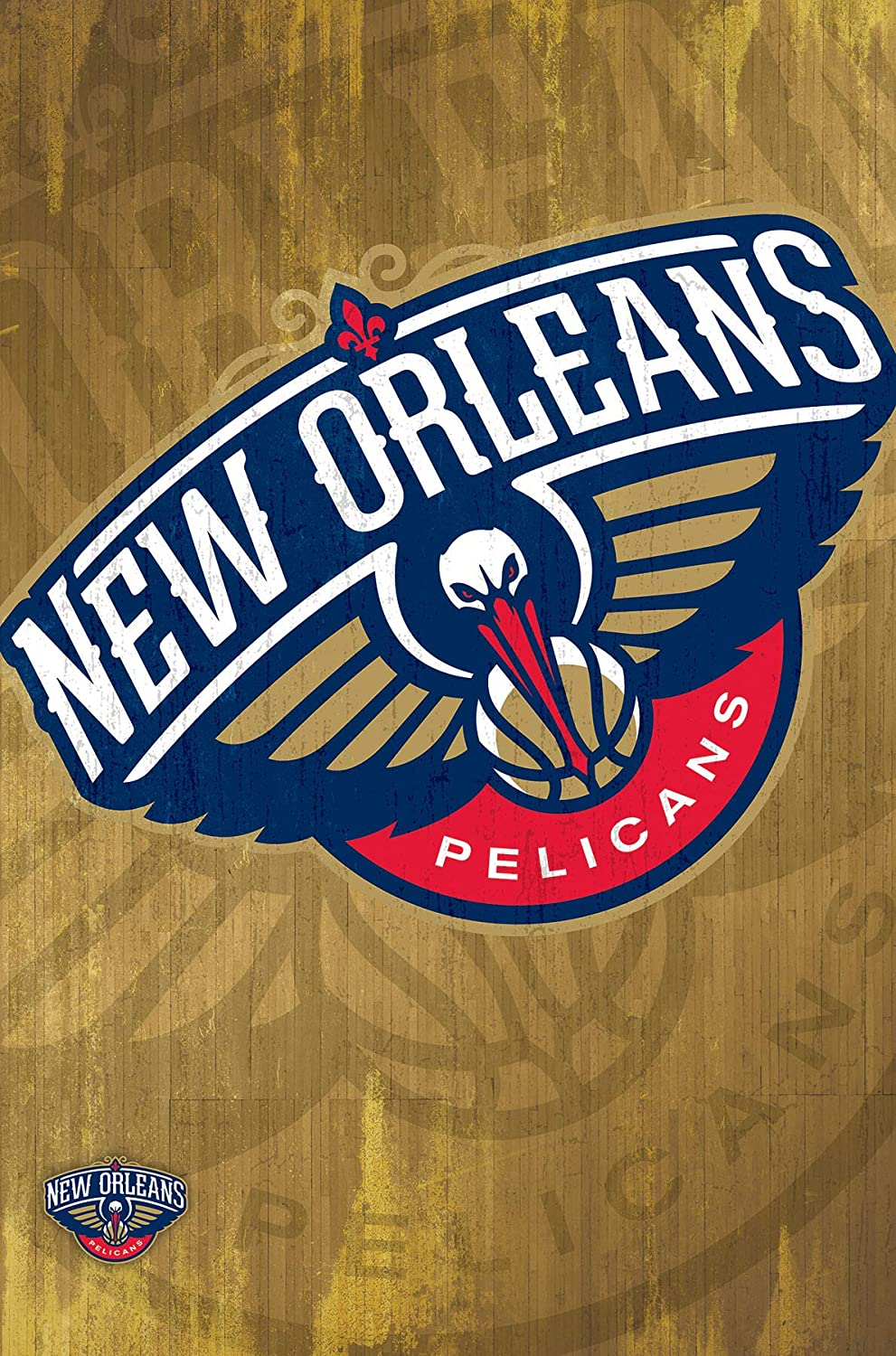 Trends International New Orleans Pelicans-Logo 13 Mount Bundle Wall Poster, 22.375  x 34 , Multi