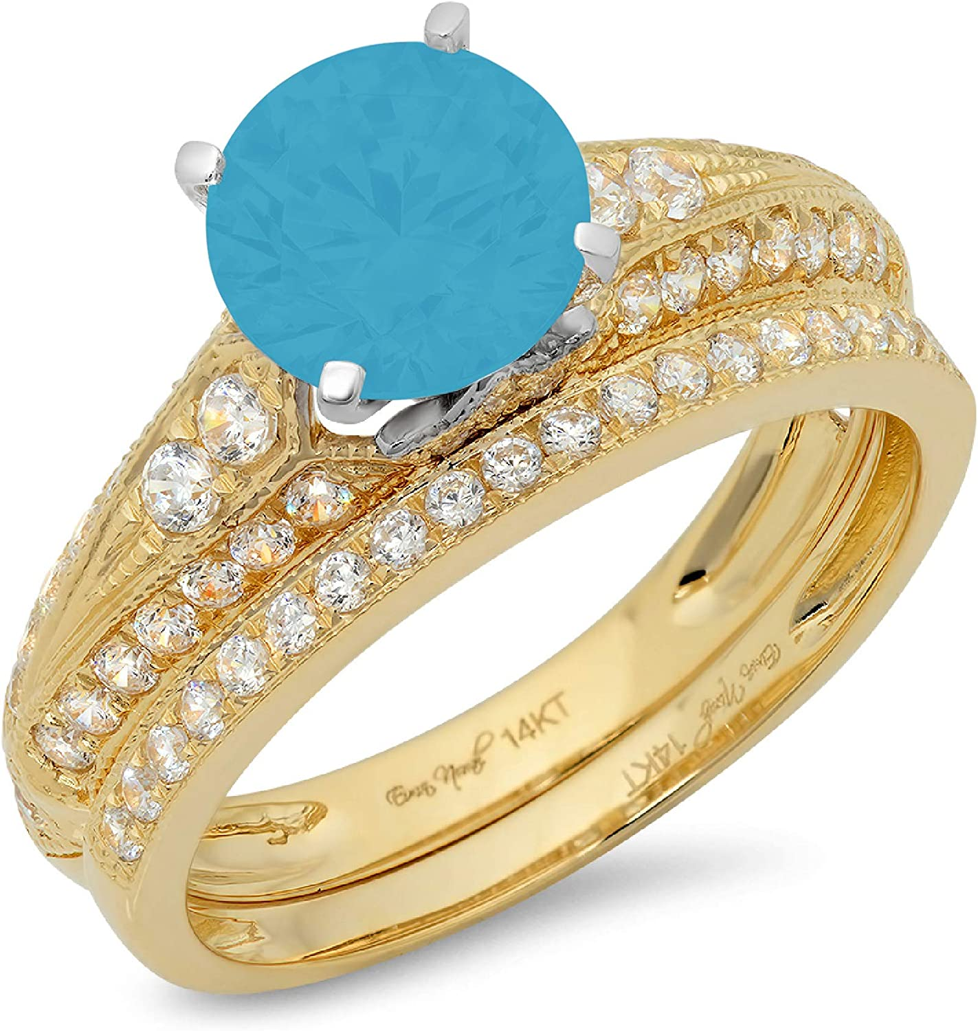 2.04ct Round Cut Pave Solitaire with Accent Ideal Flawless Simulated CZ Turquoise Engagement Promise Designer Anniversary Wedding Bridal ring band set 14k 2 Tone Gold