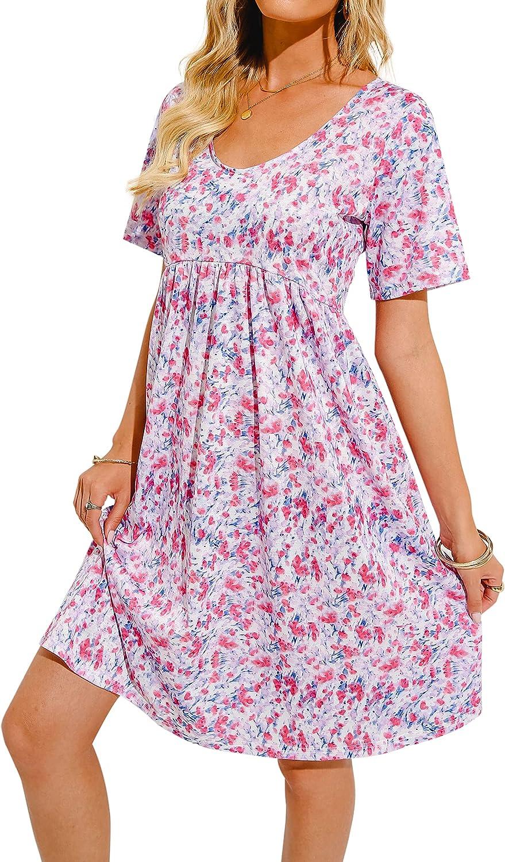Hibluco Women Casual Babydoll Dress Tunic Swing Floral Midi Dress T-Shirt Dress