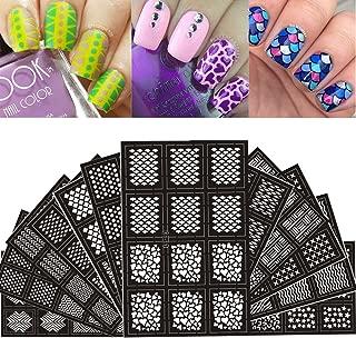 Ejiubas 144 Pieces 24 Different Designs Nail Vinyls Nail Stencil Sheets Easy Nail Art Nail Guides Nail Stickers Set 12 Sheets