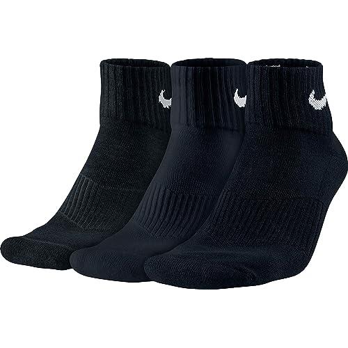 Nike 3PPK Cushion Quarter, Calcetines unisex, paquete de 3 unidades, Negro / Blanco