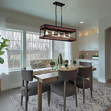 Rustic Farmhouse Kitchen Island Lighting, Wood and Metal Linear Chandelier, 5 Lights Industrial Pendant Light Fixture for Kit