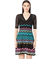 M Missoni - Short Sleeve V-Neck Zigzag Short Dress