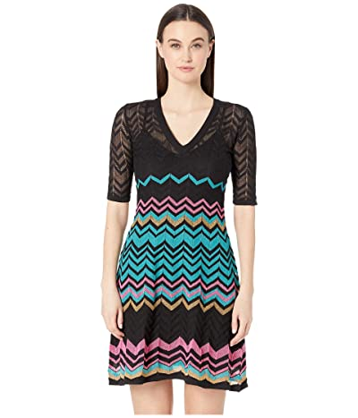 M Missoni Short Sleeve V-Neck Zigzag Short Dress (Black/Blue) Women