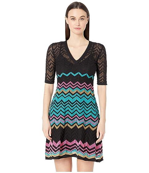 M Missoni Short Sleeve V-Neck Zigzag Short Dress