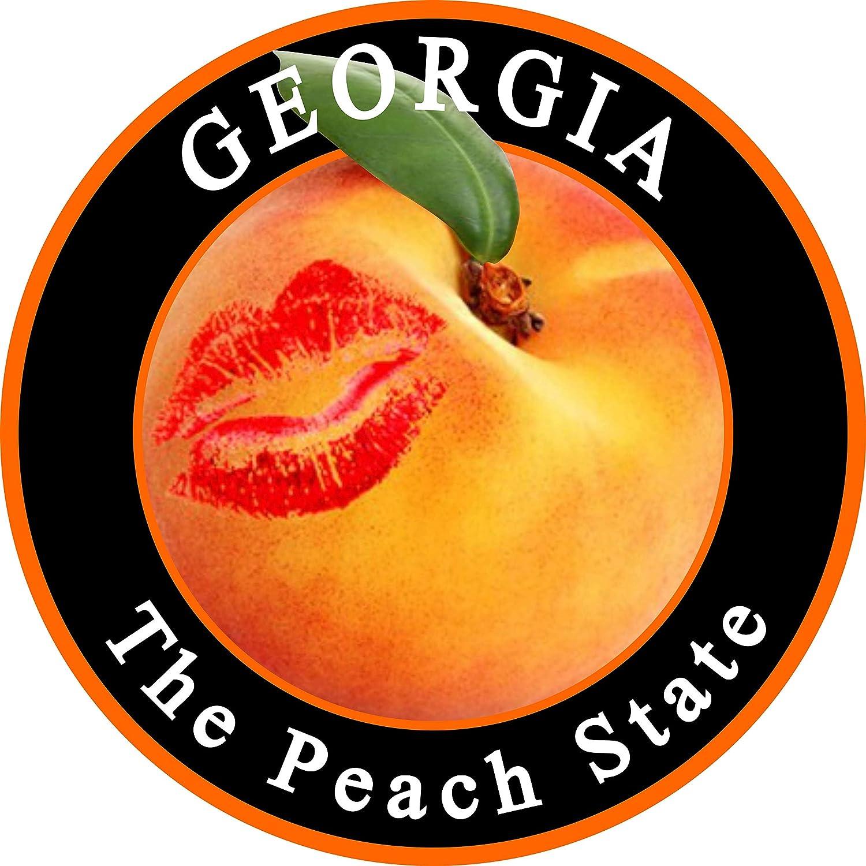 Peach Kiss GA Bumper Sticker - The Great State of Georgia Premium Vinyl Car Decal (3 x 3