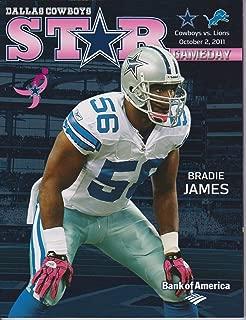 Dallas Cowboys vs Detroit Lions STAR Gameday Program October 2, 2011 Bradie James Breast Cancer Awareness
