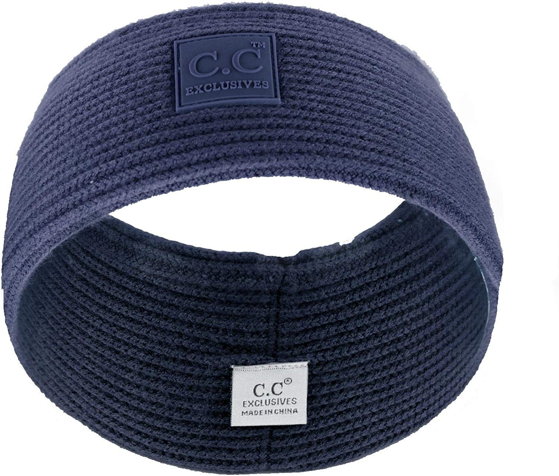 C.C Unisex Winter Thick Ribbed Knit Stretchy Plain Ear Warmer Headband
