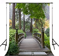 Beautiful Park Photo Background 5X7ft Oriental Wooden Bridge with Trees Photography Backdrops Home Room Zen Tapestries BT004