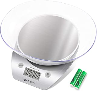 Etekcity Kitchen Food Scale Grams and Ounces, Removable Bowl for Cooking and Baking, Silver