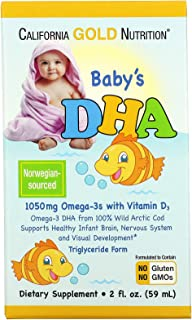 California Gold Nutrition Baby s DHA 1050 mg Omega-3s with Vitamin D3 2 fl oz 59 ml, Milk-Free, Gluten-Free, No Artificial...