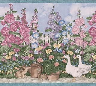 Village Garden Blue Pink Purple Flowers in Pots Geese Birdhouse Wallpaper Border Retro Design, Roll 15' x 7