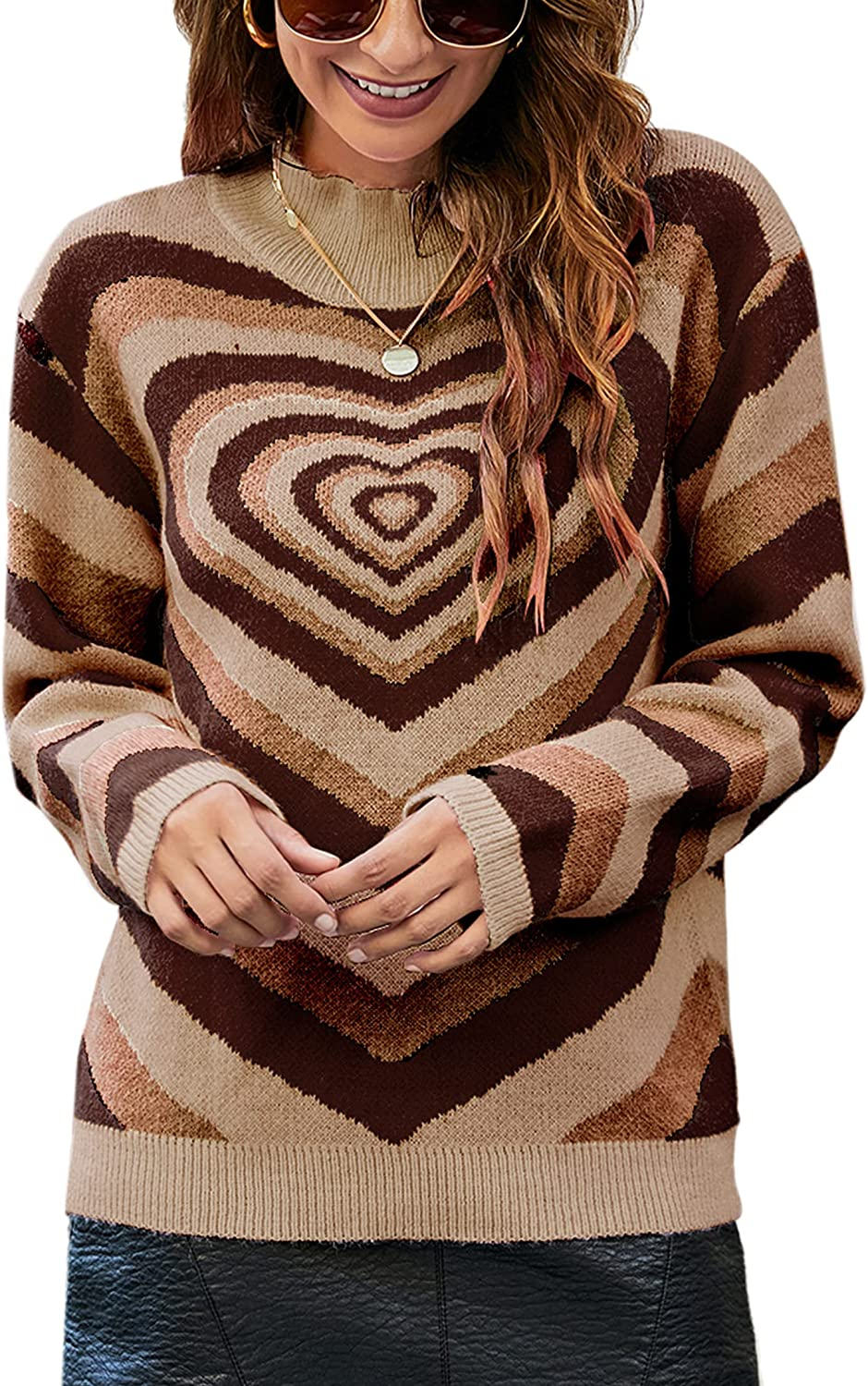 Angashion Women's Pullover Sweaters Casual Heart Printed Mock Neck Long Sleeve Color Block Knit Y2K Sweater Tops