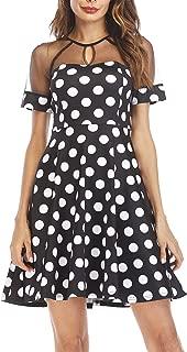 Naive Shine Women's Short Sleeve Polka Dot Swing Casual Party Mini Dress